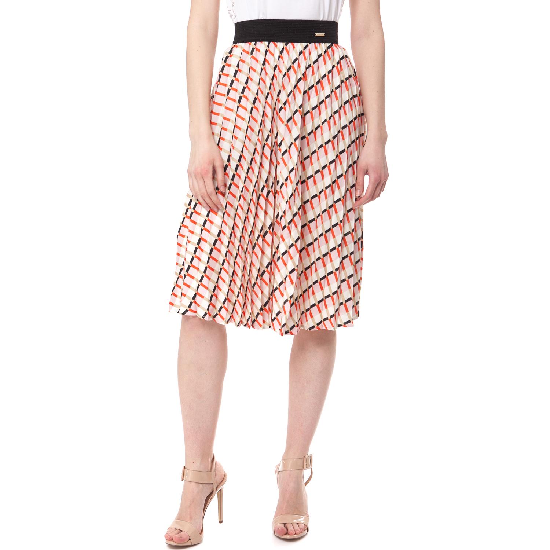 GUESS - Γυναικεία φούστα Guess μπεζ-πορτοκαλί γυναικεία ρούχα φούστες μέχρι το γόνατο