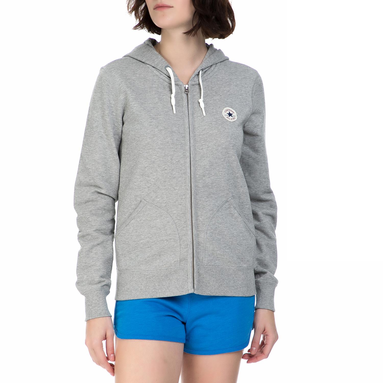 CONVERSE - Γυναικεία φούτερ ζακέτα Converse γκρι γυναικεία ρούχα φούτερ ζακέτες