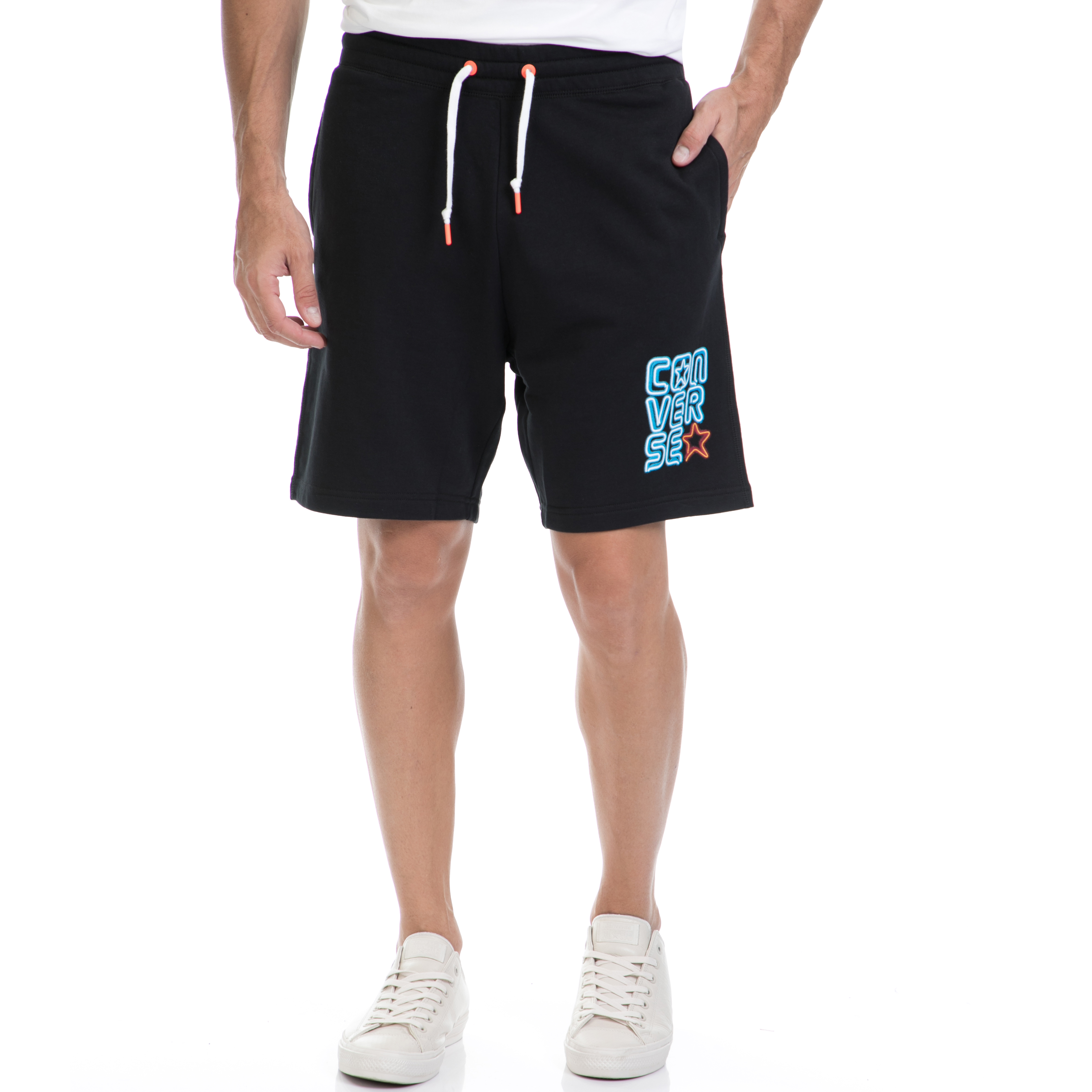 CONVERSE - Αντρική βερμούδα CONVERSE μαύρη ανδρικά ρούχα σορτς βερμούδες αθλητικά