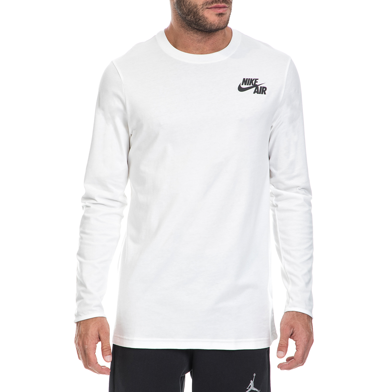NIKE - Ανδρική μπλούζα NIKE λευκή ανδρικά ρούχα αθλητικά φούτερ μακρυμάνικα