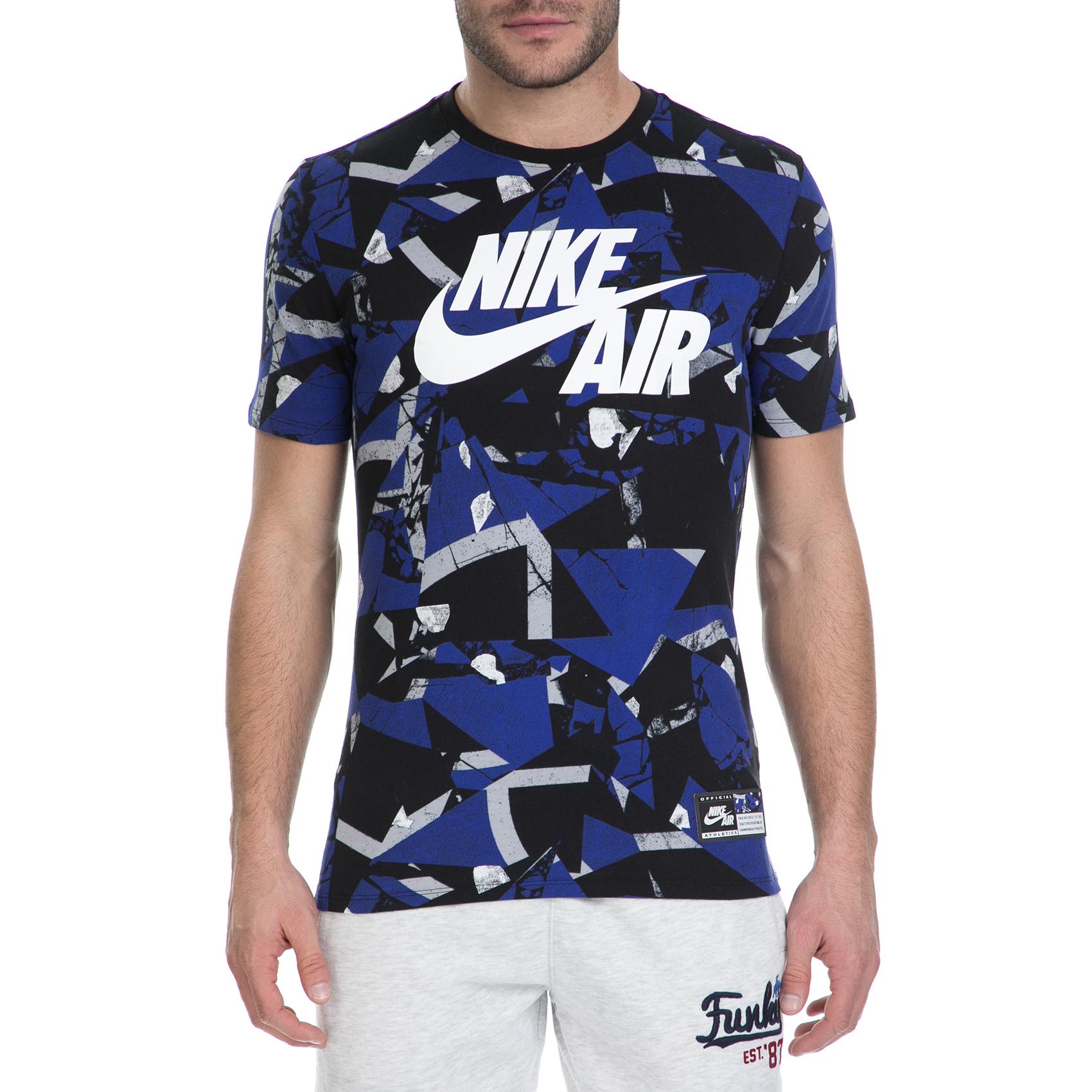 NIKE – Κοντομάνικη μπλούζα Nike μαύρο-μπλε μοτίβο