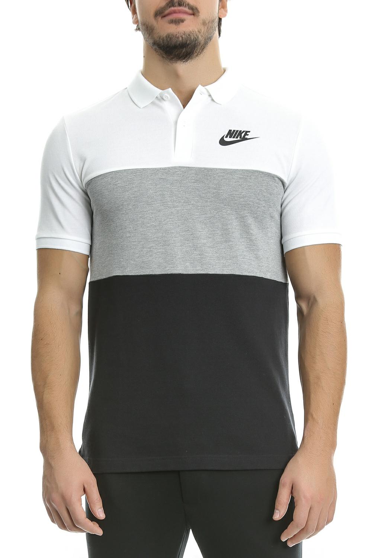 NIKE - Ανδρική πόλο μπλούζα Nike μαύρη-λευκή-γκρι ανδρικά ρούχα μπλούζες πόλο
