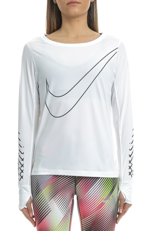 NIKE – Γυναικεία αθλητική μακρυμάνικη μπλούζα Nike BRTHE TOP LS CITY λευκή