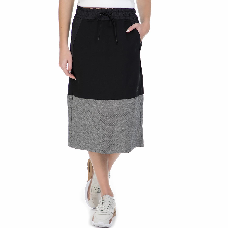 NIKE – Γυναικεία midi φούστα Nike Sportswear Tech Fleece μαύρη – γκρι