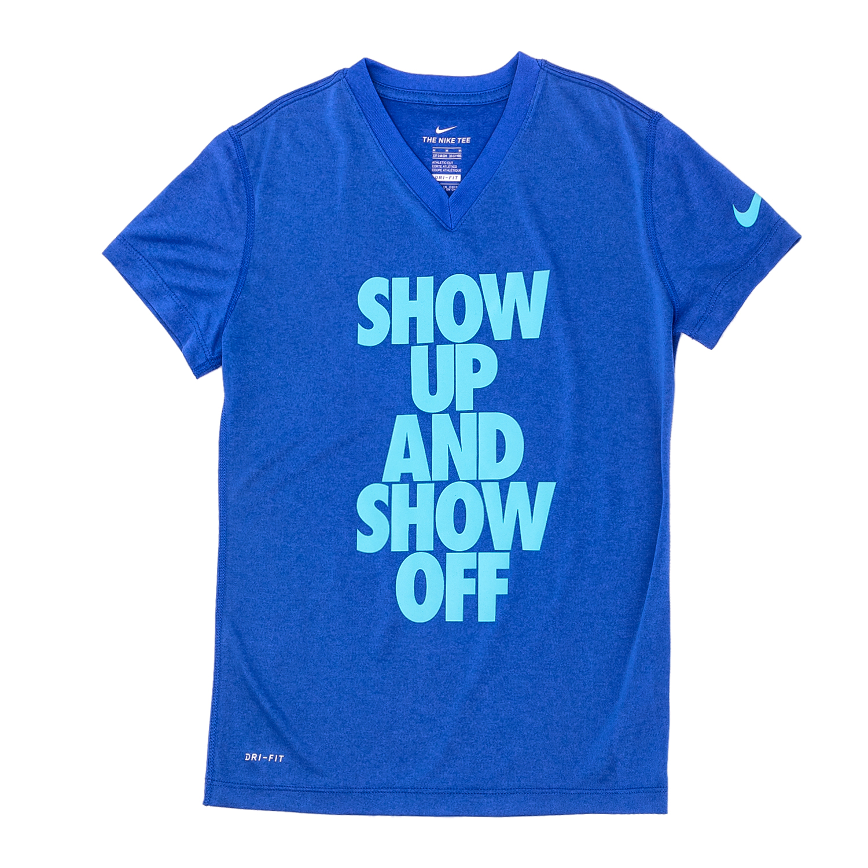 NIKE – Κοριτσίστικη κοντομάνικη μπλούζα Nike μπλε με στάμπα