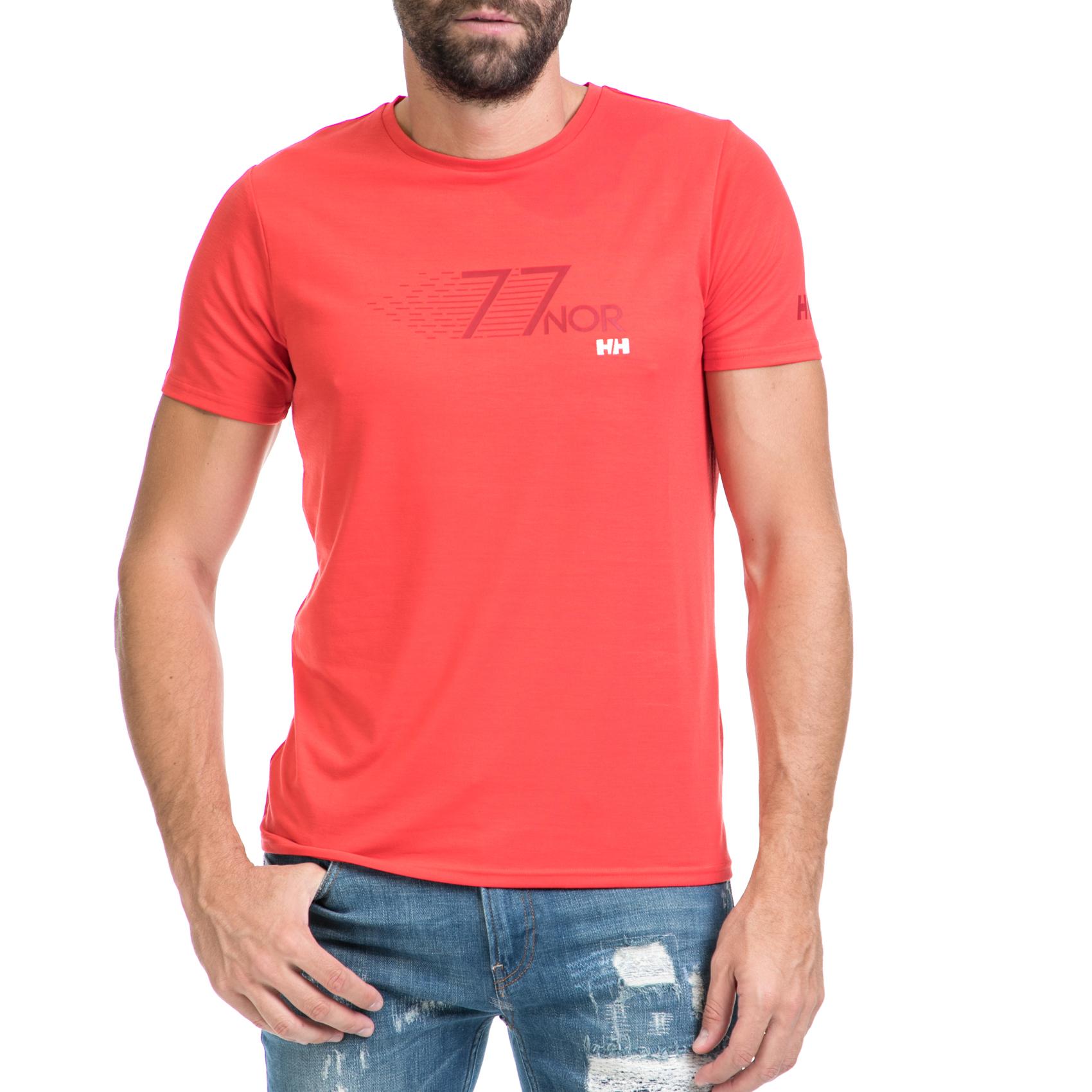 HELLY HANSEN - Ανδρική μπλούζα SHORE κόκκινη-πορτοκαλί ανδρικά ρούχα αθλητικά t shirt