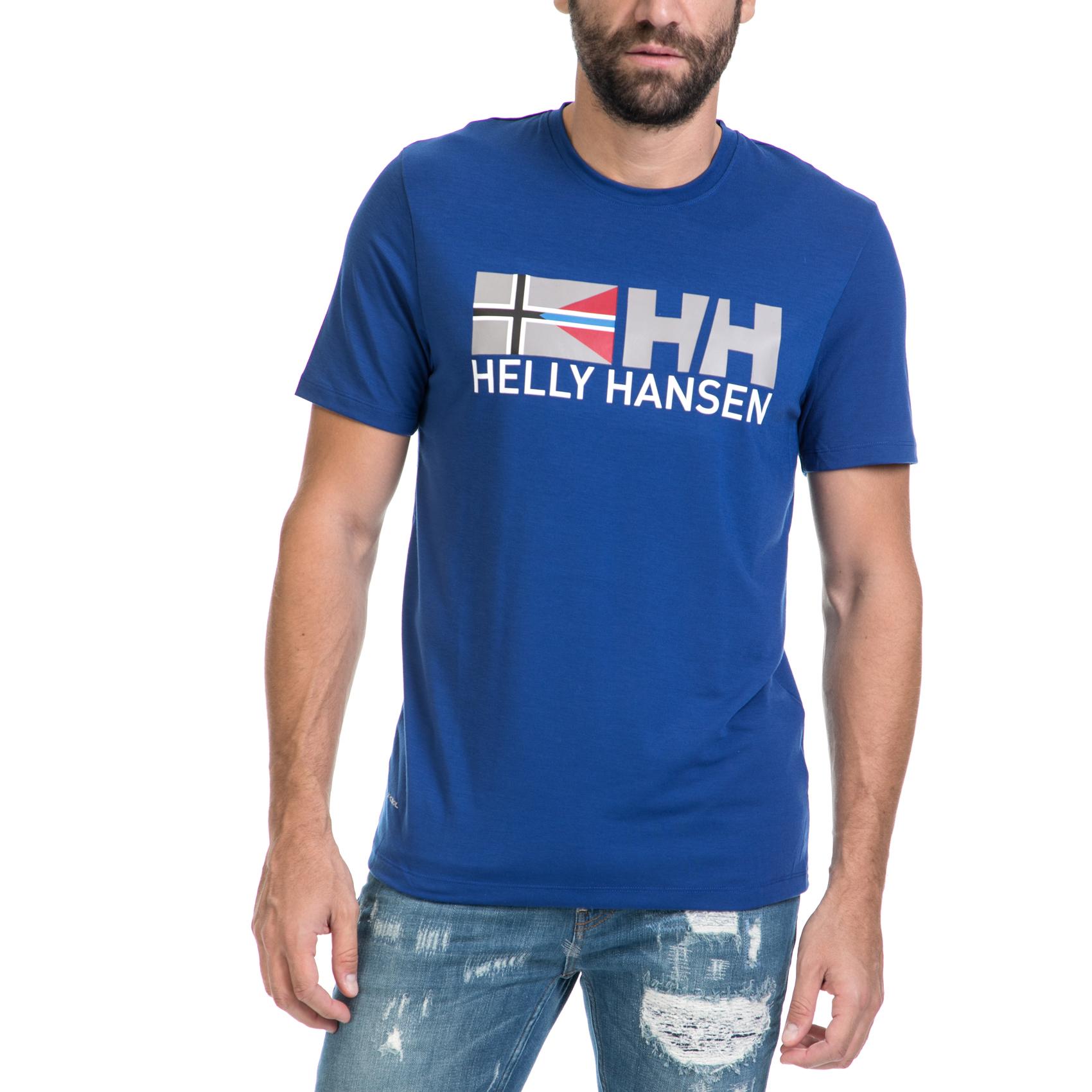 HELLY HANSEN - Ανδρική μπλούζα RUNE μπλε ανδρικά ρούχα αθλητικά t shirt