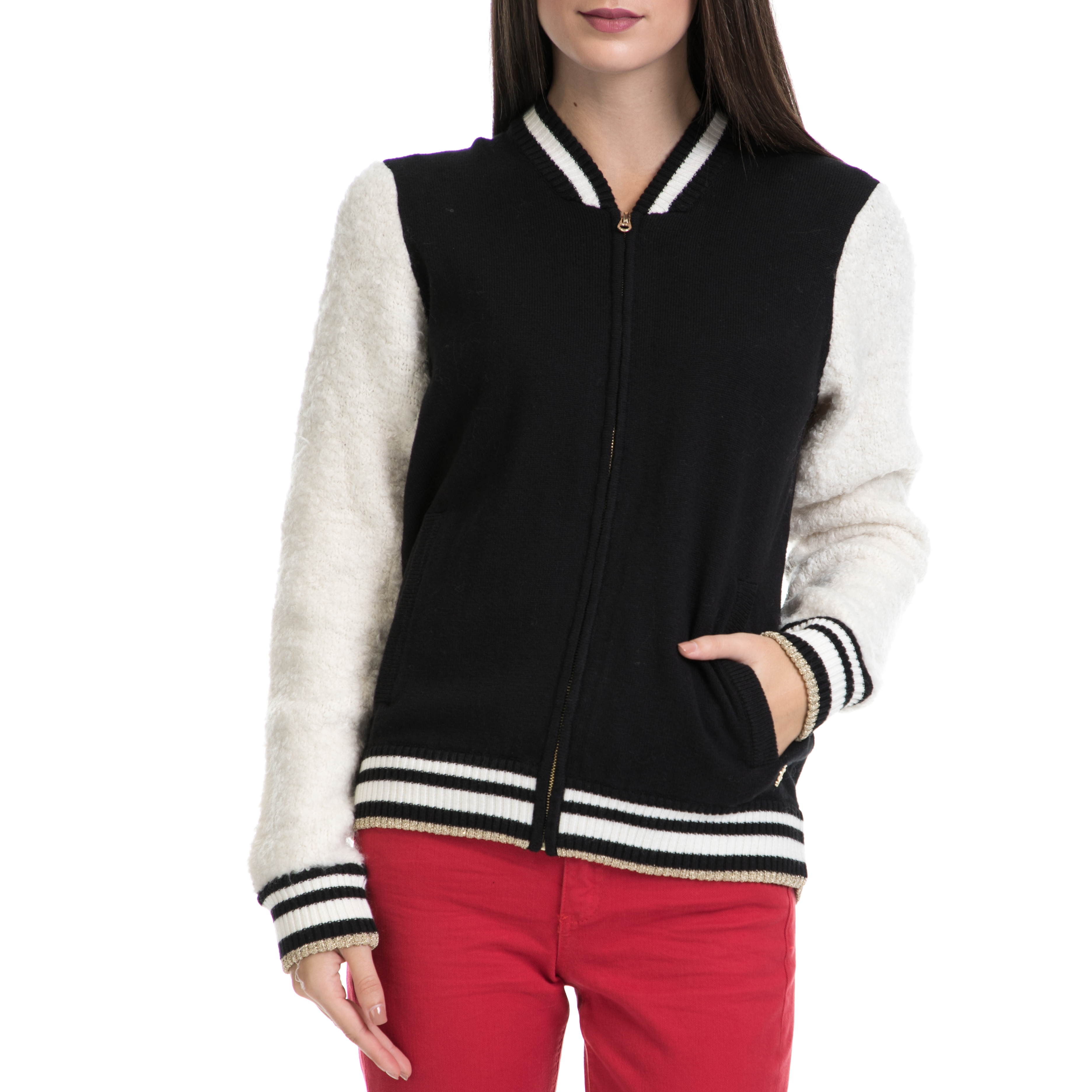 JUICY COUTURE – Γυναικείο τζάκετ JUICY COUTURE μαύρο-λευκό