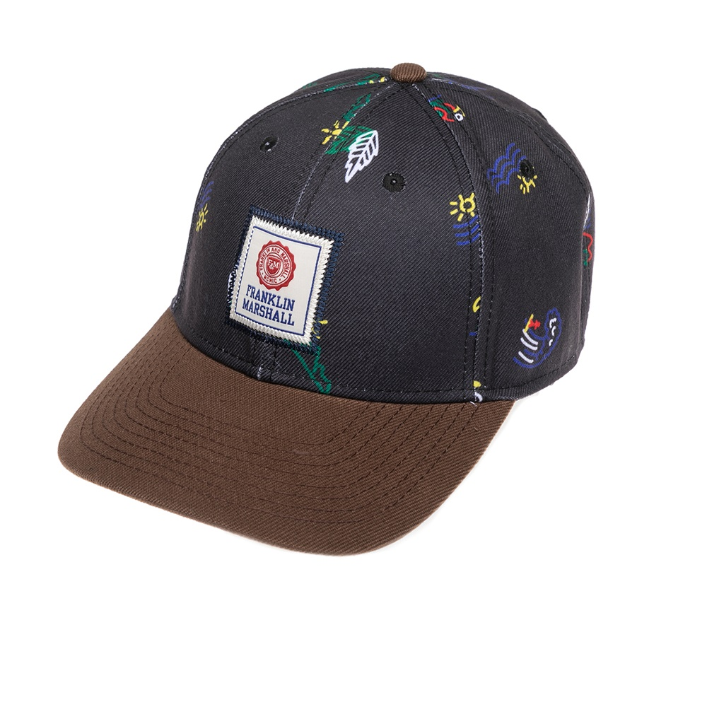 FRANKLIN & MARSHALL - Καπέλο τζόκεϋ Franklin & Marshall μπλε-γκρι γυναικεία αξεσουάρ καπέλα αθλητικά