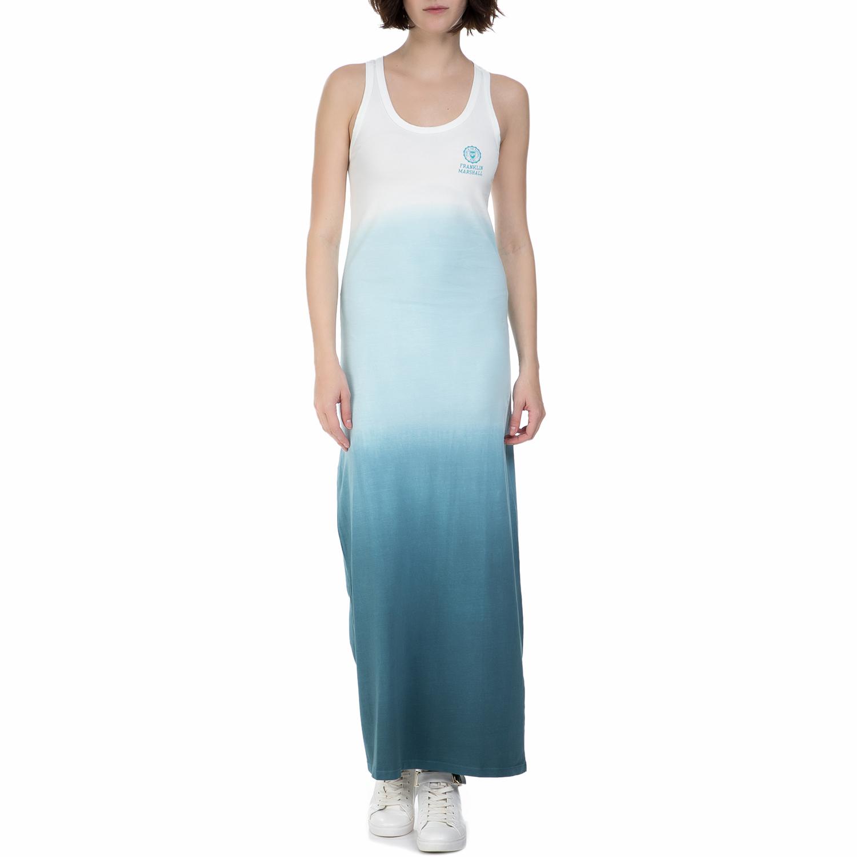 FRANKLIN & MARSHAL - Γυναικείο μακρύ φόρεμα Franklin & Marshall γαλάζιο - λευκό γυναικεία ρούχα φορέματα μίνι