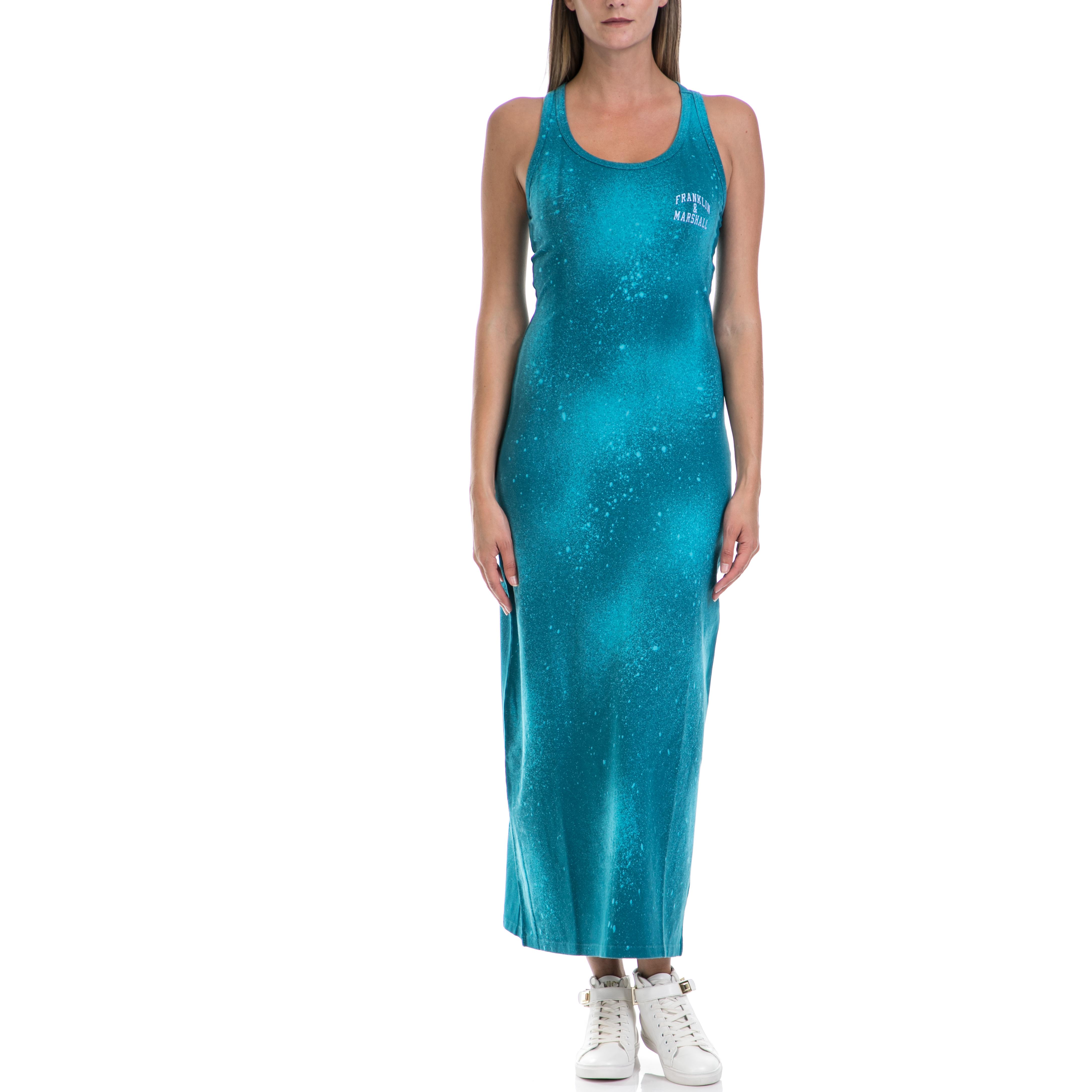 FRANKLIN & MARSHALL - Γυναικείο φόρεμα Franklin & Marshall μπλε-πράσινο γυναικεία ρούχα φορέματα μάξι