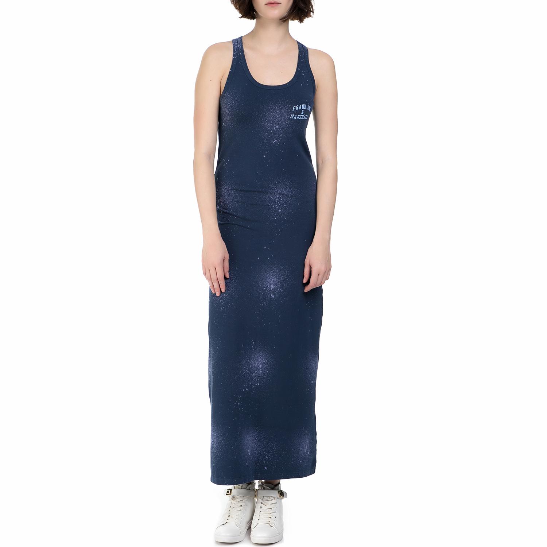 FRANKLIN & MARSHAL - Γυναικείο μακρύ φόρεμα Franklin & Marshall μπλε γυναικεία ρούχα φορέματα μάξι