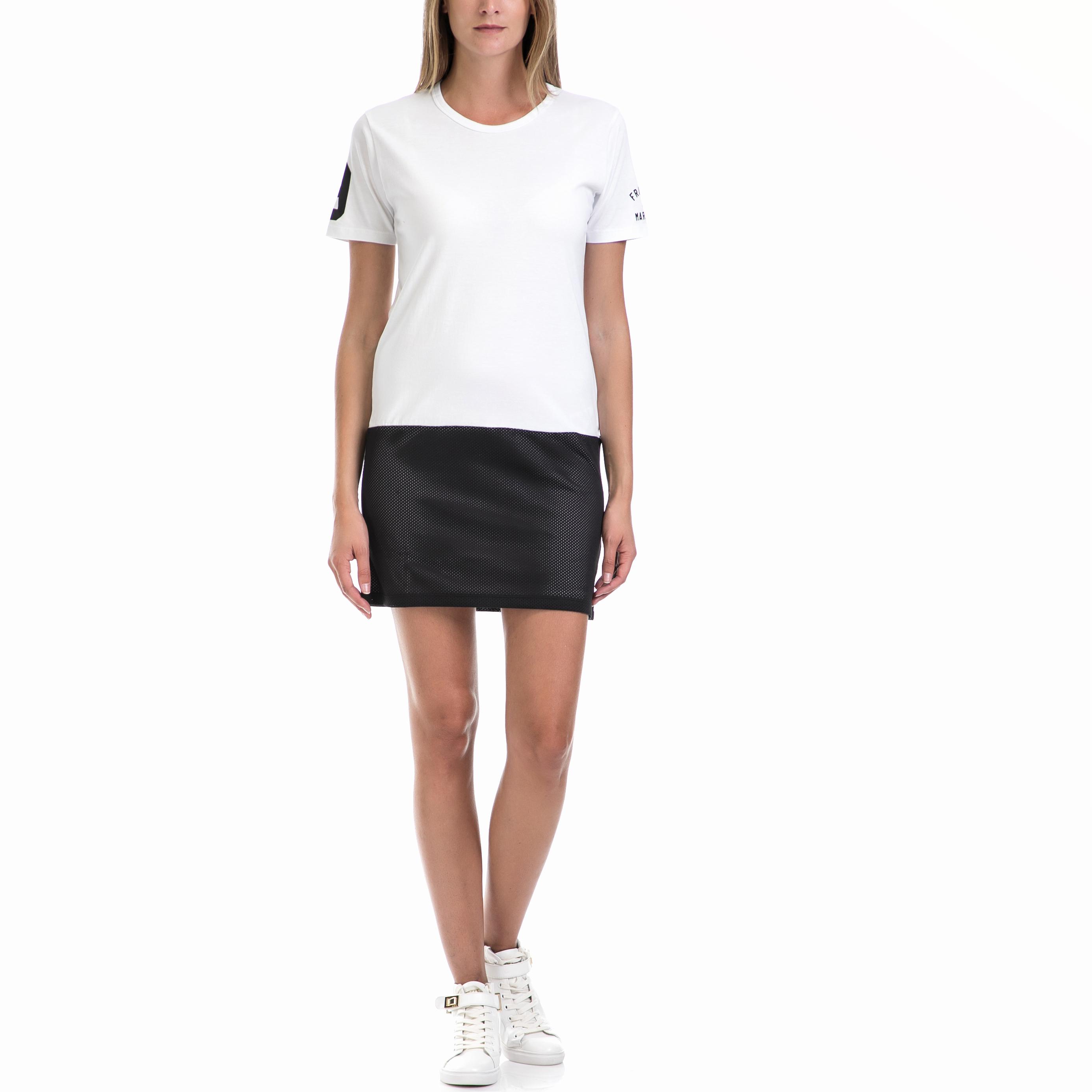 FRANKLIN & MARSHALL - Γυναικείο φόρεμα Franklin & Marshall λευκό-μαύρο γυναικεία ρούχα φορέματα μίνι