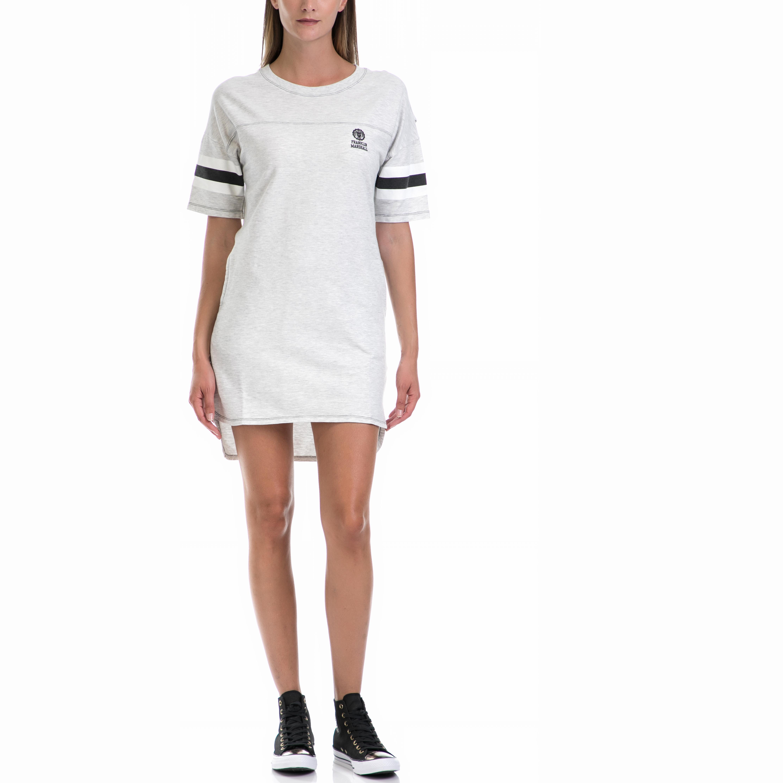 FRANKLIN & MARSHAL - Γυναικείο φόρεμα Franklin & Marshall εκρού γυναικεία ρούχα φορέματα μίνι