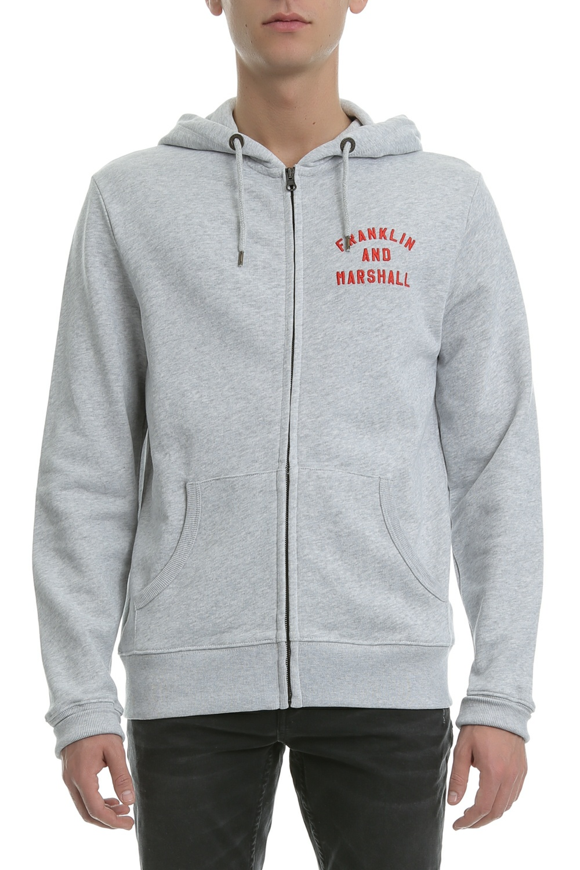 FRANKLIN & MARSHALL - Ανδρική ζακέτα Franklin & Marshall γκρι ανδρικά ρούχα φούτερ ζακέτες