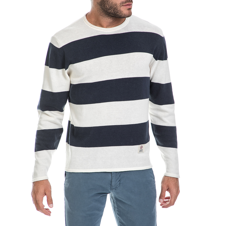 FRANKLIN & MARSHALL – Ανδρικό πουλόβερ FRANKLIN & MARSHALL λευκό-μπλε