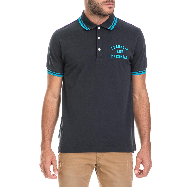 FRANKLIN & MARSHALL – Ανδρική μπλούζα POLO PIQUET CLASSIC FRANKLIN & MARSHALL μαύρη-μπλε