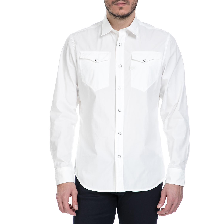 G-STAR RAW – Ανδρικό μακρυμάνικο πουκάμισο G-Star Raw Tacoma Deconstructed λευκό