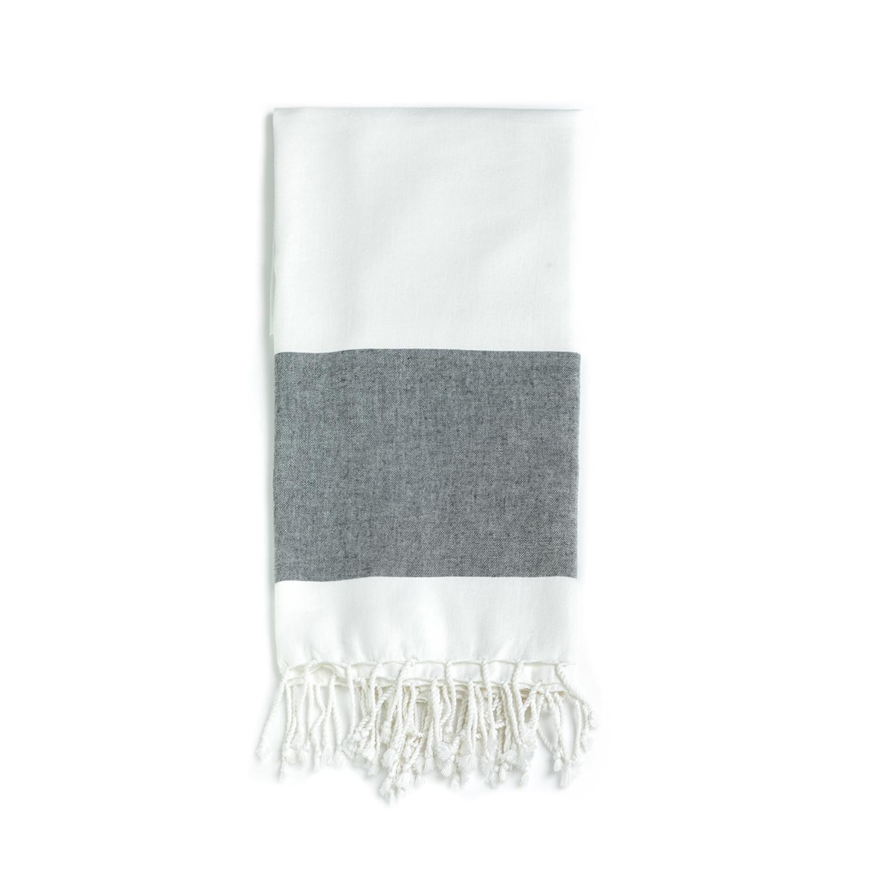 CK UNDERWEAR – Πετσέτα θαλάσσης CALVIN KLEIN άσπρη-γκρι