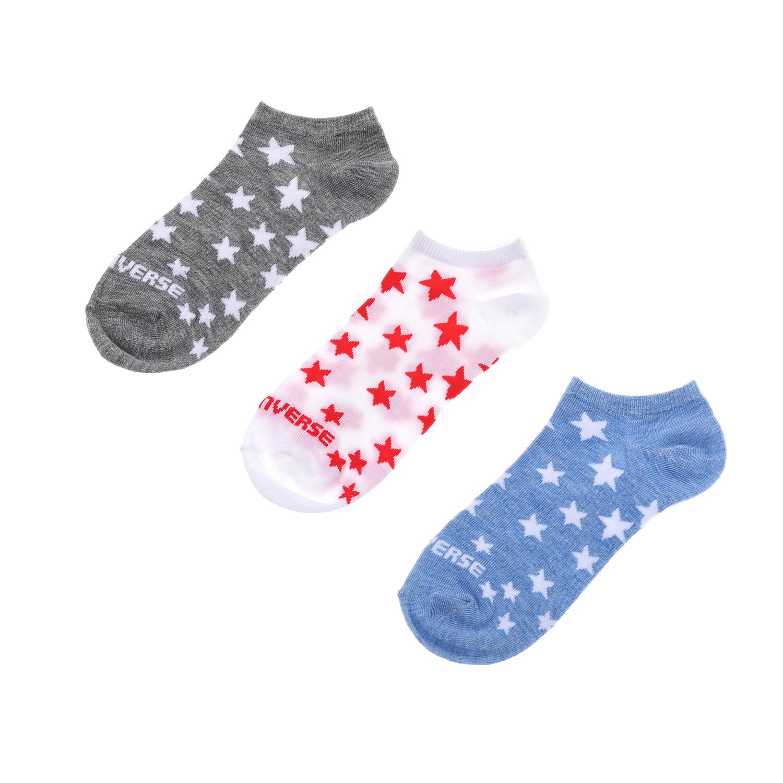 CONVERSE – Γυναικείο σετ κάλτσες CONVERSE γκρι-μπλε-άσπρες