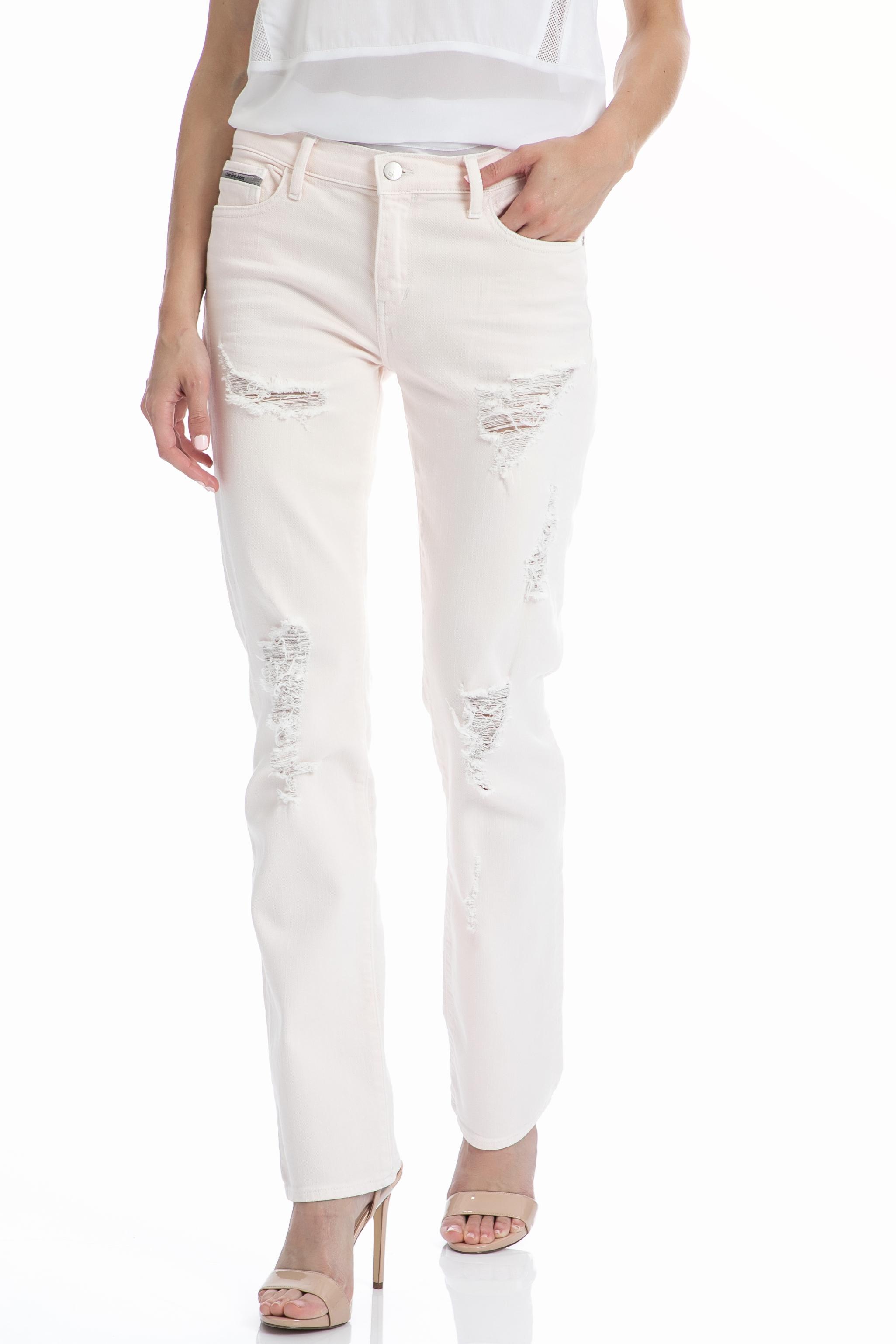 CALVIN KLEIN JEANS – Γυναικείο τζιν παντελόνι CALVIN KLEIN JEANS λευκό