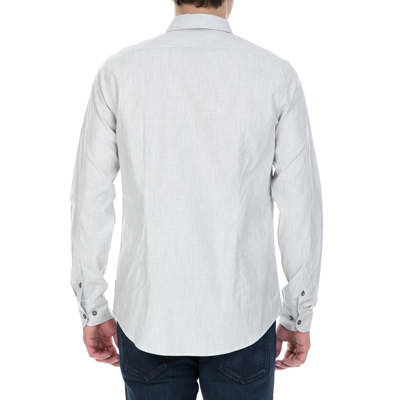 CALVIN KLEIN JEANS – Ανδρικό μακρυμάνικο πουά πουκάμισο Calvin Klein Jeans  γκρι 964edadbe84