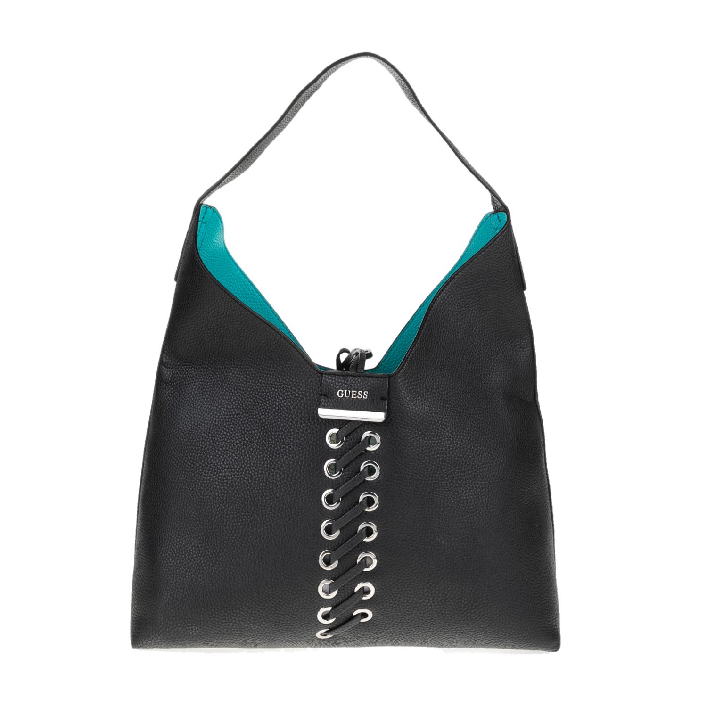 0981a9351d GUESS - Γυναικεία τσάντα GUESS BOBBI Hobo μαύρη-τιρκουάζ