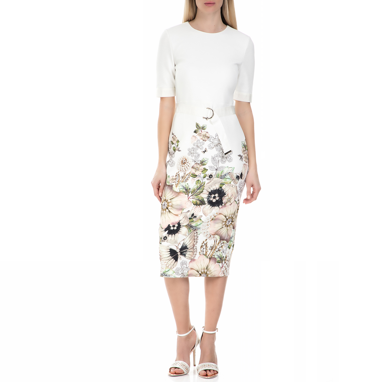 TED BAKER - Midi φόρεμα Ted Baker layli gem garden λευκό φλοράλ γυναικεία ρούχα φορέματα μέχρι το γόνατο