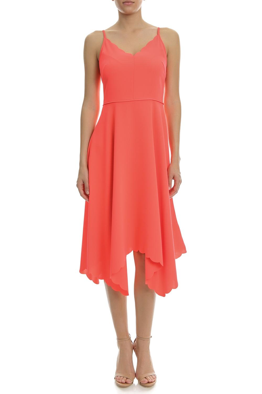 TED BAKER - Γυναικείο φόρεμα SCALLOP ASYMMETRIC HEM κοραλί