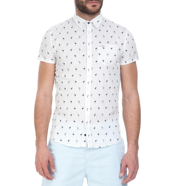 537f5c5ee180 GUESS - Ανδρικό κοντομάνικο πουκάμισο GUESS με φλαμίνγκο