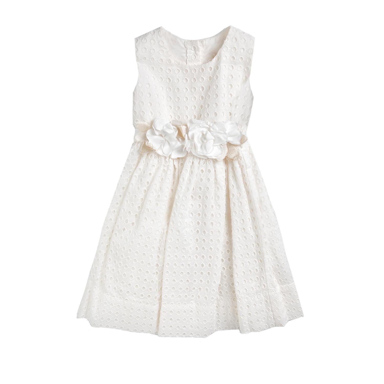MONNALISA - Φόρεμα MONNALISA C/ROSA λευκό παιδικά girls ρούχα φορέματα