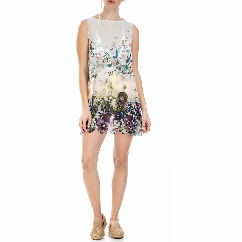 TED BAKER - Μινι φόρεμα Ted Baker φλοράλ με διαφάνεια γυναικεία ρούχα φορέματα μίνι