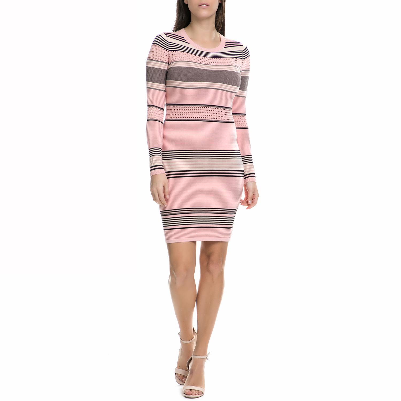 JUICY COUTURE - Γυναικείο μακρυμάνικο μίνι φόρεμα Juicy Couture ροζ -γκρι γυναικεία ρούχα φορέματα μίνι