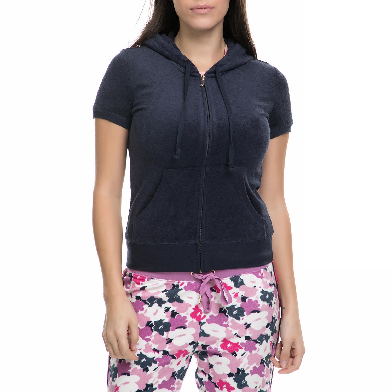 JUICY COUTURE - Γυναικεία κοντομάνικη ζακέτα JUICY COUTURE μπλε γυναικεία ρούχα φούτερ ζακέτες