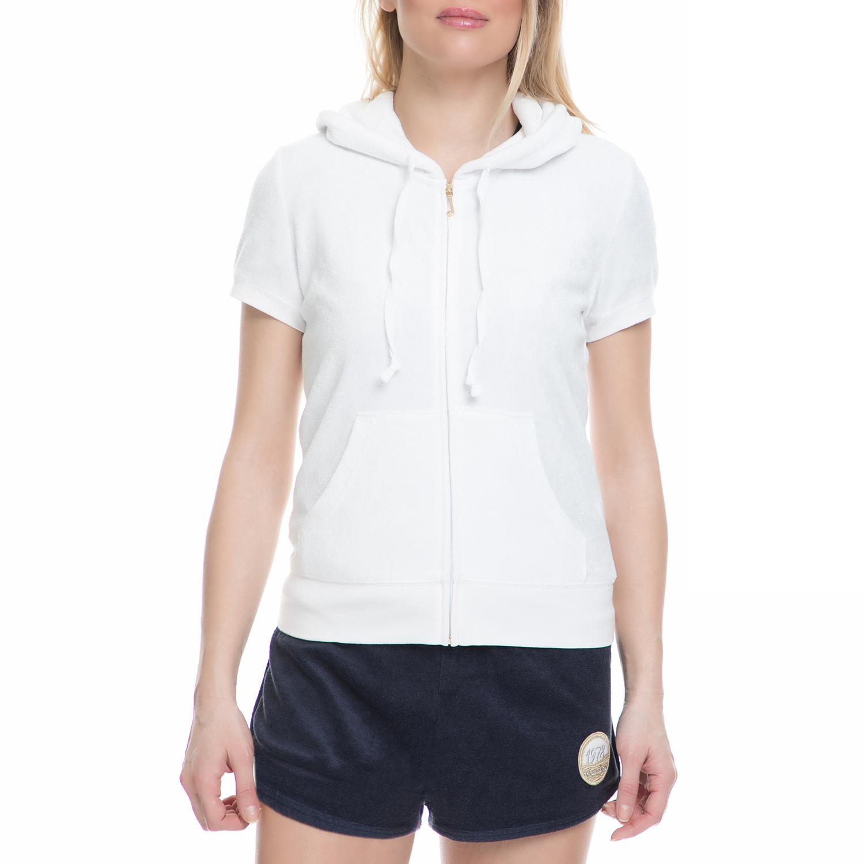 JUICY COUTURE - Γυναικεία ζακέτα JUICY COUTURE λευκή γυναικεία ρούχα φούτερ ζακέτες