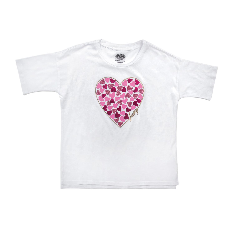 JUICY COUTURE KIDS – Κοριτσίστικη κοντομάικη μπλούζα JUICY COUTURE HEART  EXPRESSIONS λευκή 4dbe4a3fc32