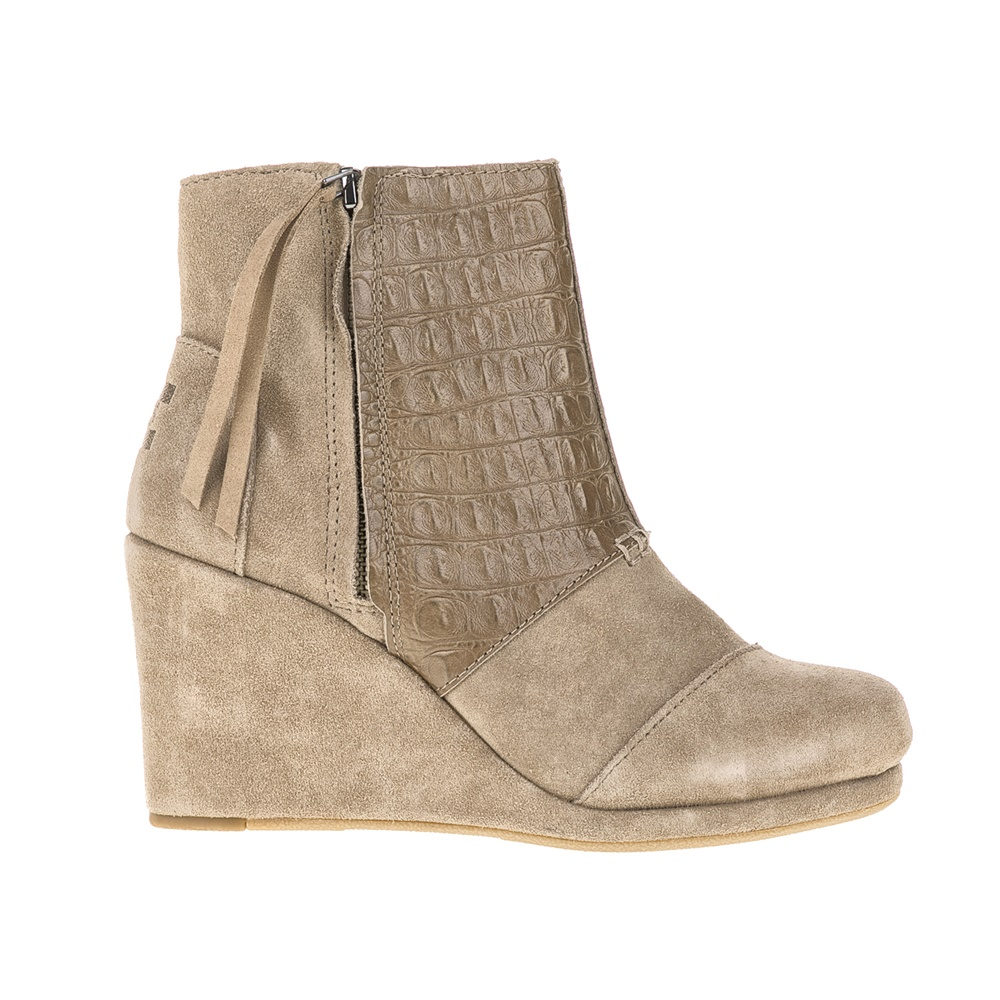 TOMS – Γυναικεία μποτάκια TOMS TAUPE SUEDE CROC EMBOSS μπεζ