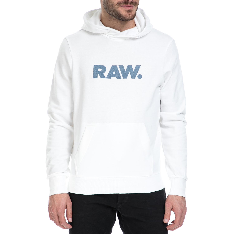 G-STAR RAW - Ανδρική φούτερ μπλούζα G-Star Raw λευκή ανδρικά ρούχα πλεκτά ζακέτες μπλούζες