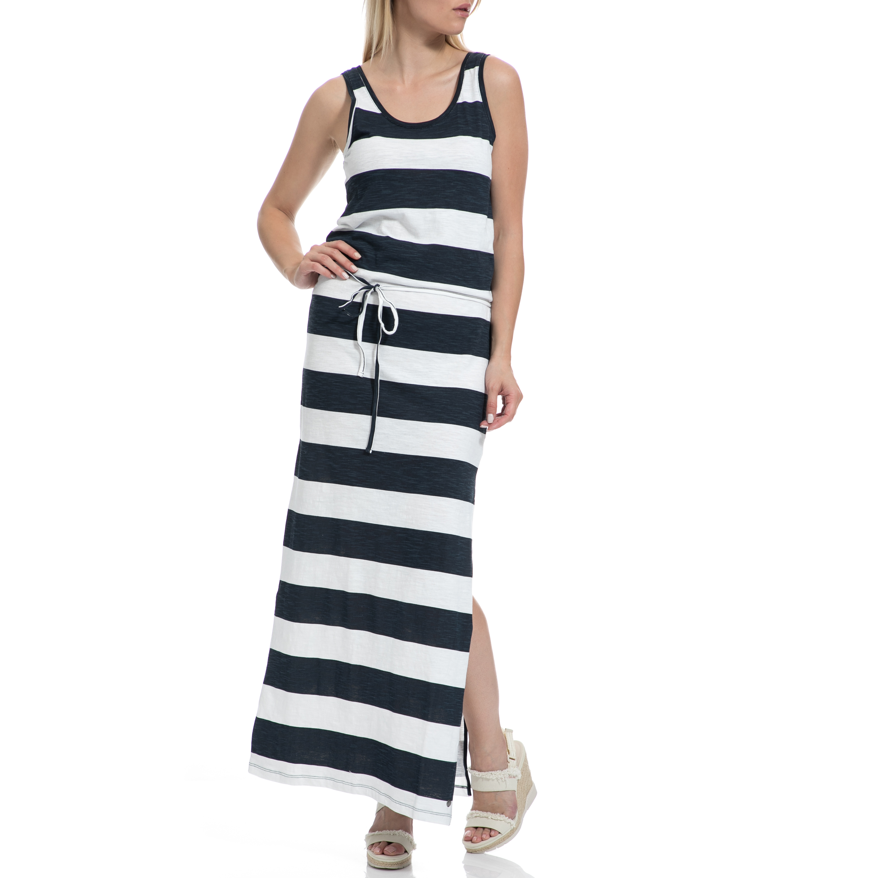 GARCIA JEANS - Γυναικείο φόρεμα GARCIA JEANS ασπρόμαυρο