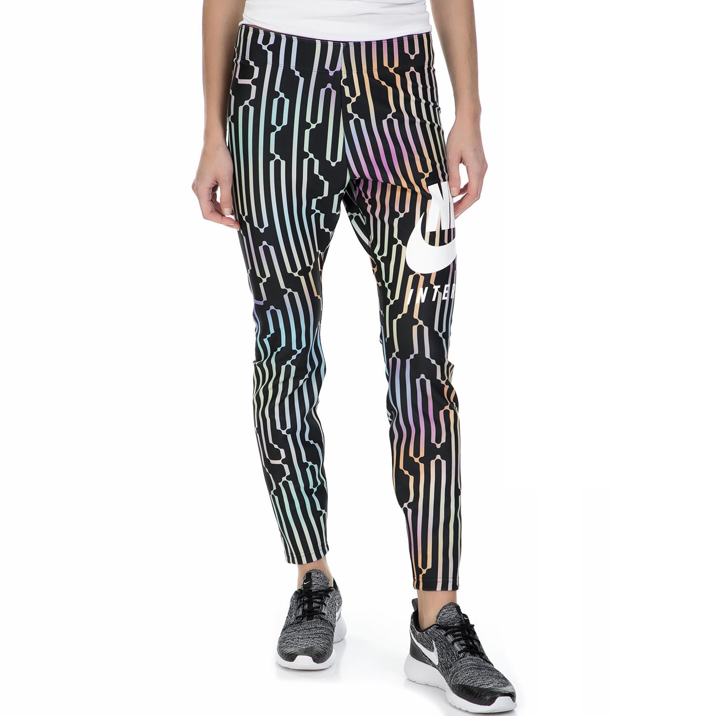 NIKE – Γυναικείο μακρύ κολάν Nike λευκό-μαύρο μοτίβο
