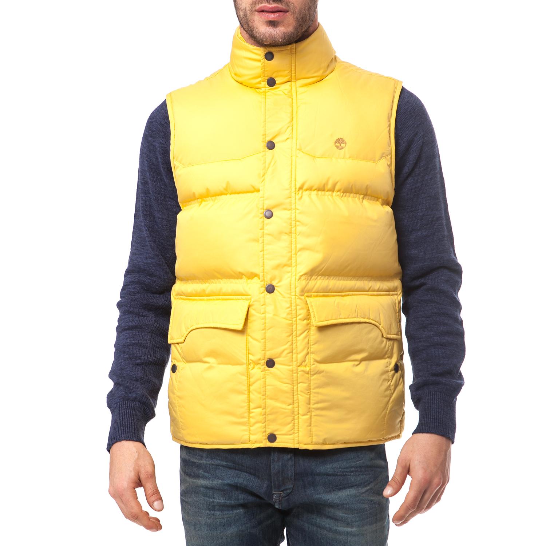 TIMBERLAND - Ανδρικό μπουφάν TIMBERLAND κίτρινο ανδρικά ρούχα πανωφόρια αμάνικα μπουφάν