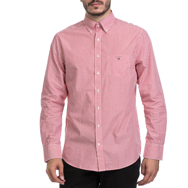 GANT - Ανδρικό πουκάμισο GANT κόκκινο-λευκό ανδρικά ρούχα πουκάμισα μακρυμάνικα