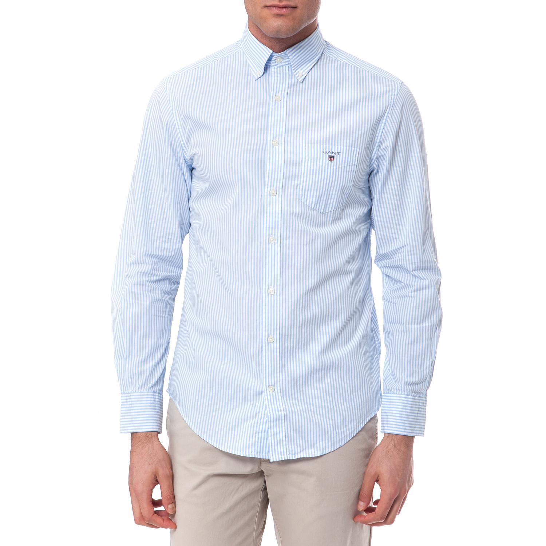 GANT - Πουκάμισο Gant λευκό-γαλάζιο ανδρικά ρούχα πουκάμισα μακρυμάνικα
