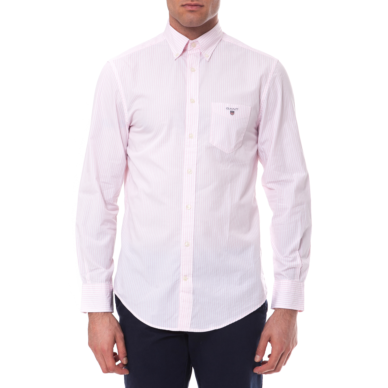 GANT - Πουκάμισο Gant λευκό-ροζ ανδρικά ρούχα πουκάμισα μακρυμάνικα