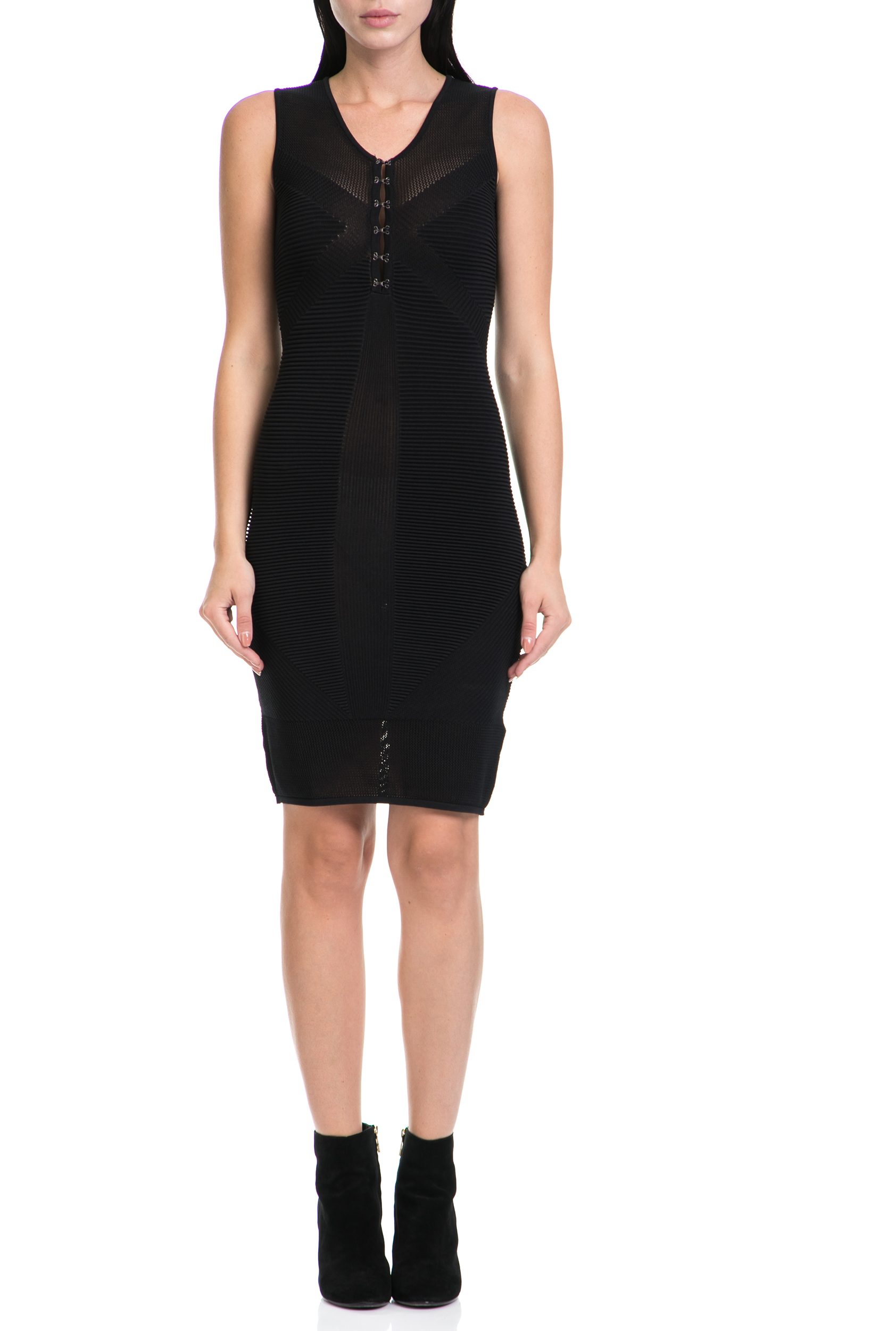 GUESS - Γυναικείο φόρεμα ANGELINA GUESS μαύρο γυναικεία ρούχα φορέματα μέχρι το γόνατο