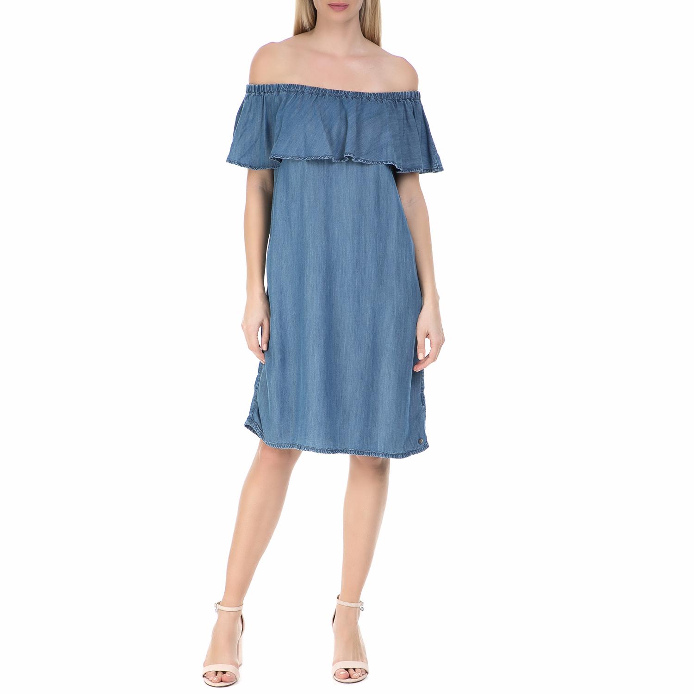 GARCIA JEANS - Τζιν off the shoulder φόρεμα Garcia Jeans μπλε γυναικεία ρούχα φορέματα μέχρι το γόνατο