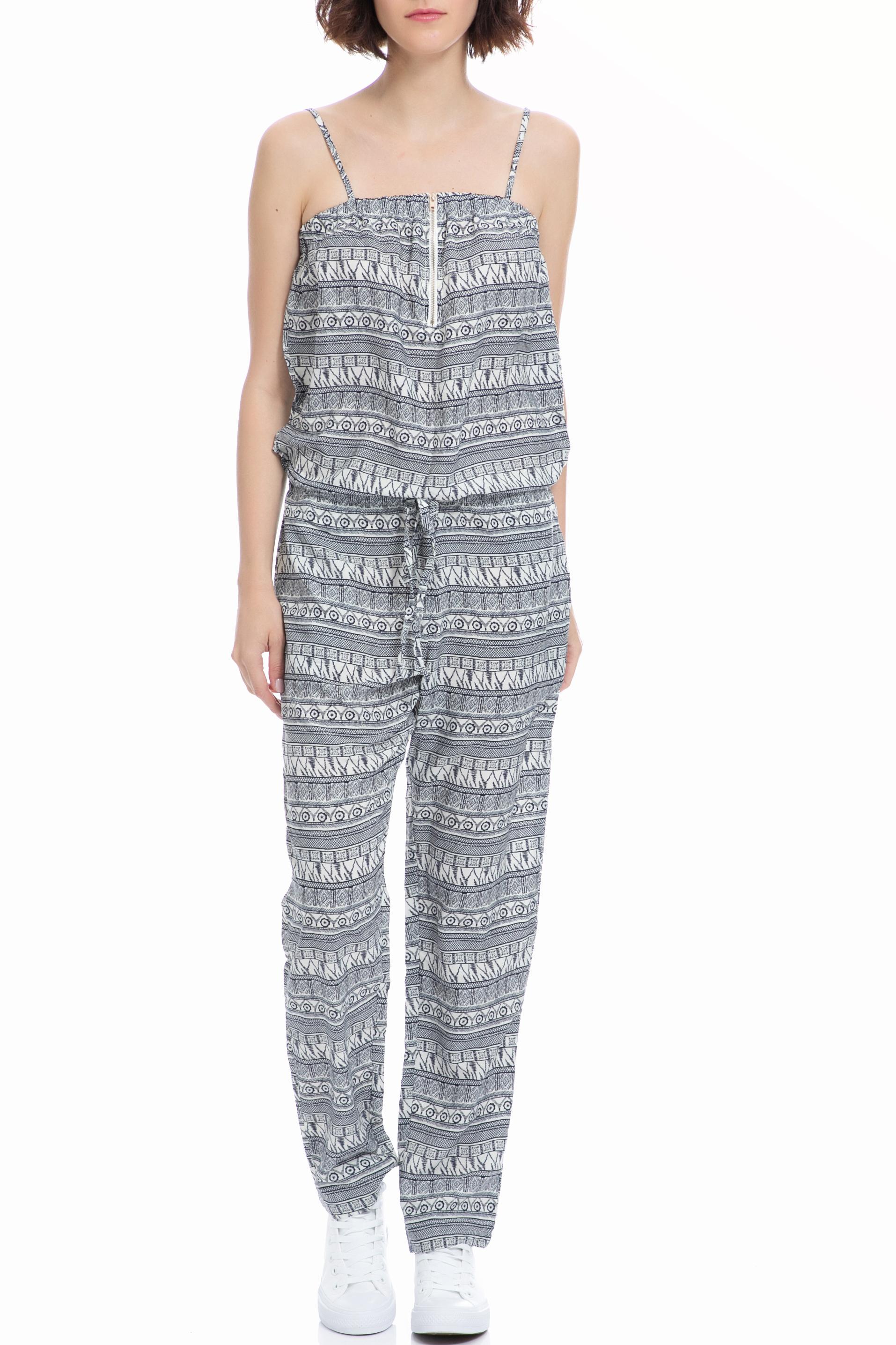 MOLLY BRACKEN - Ολόσωμη φόρμα MOLLY BRACKEN λευκή-μαύρη γυναικεία ρούχα ολόσωμες φόρμες