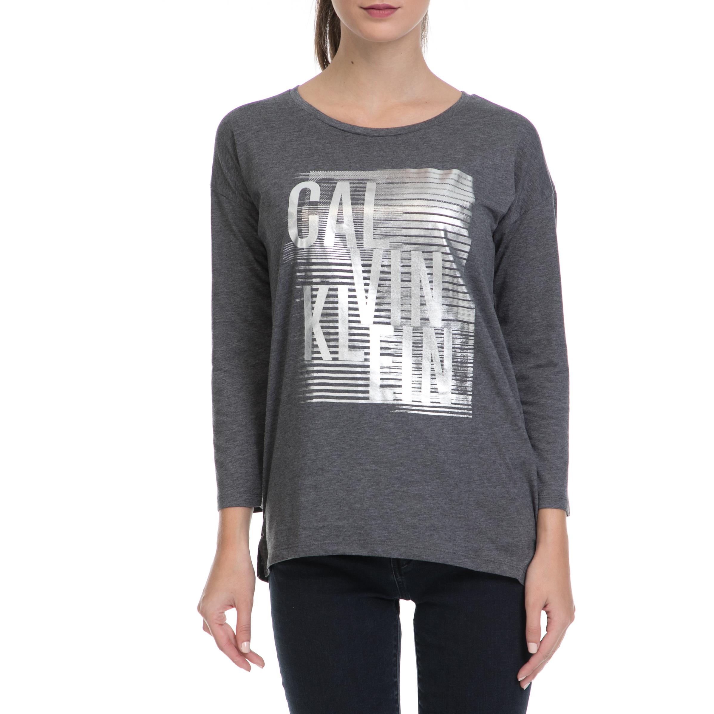 CALVIN KLEIN JEANS – Γυναικεία μπλούζα TRIX-9 CN LWK γκρι