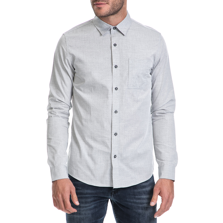 7362d2328ea6 CALVIN KLEIN JEANS – Ανδρικό πουκάμισο WILBENS 2 HEATHER DOBBY γκρι
