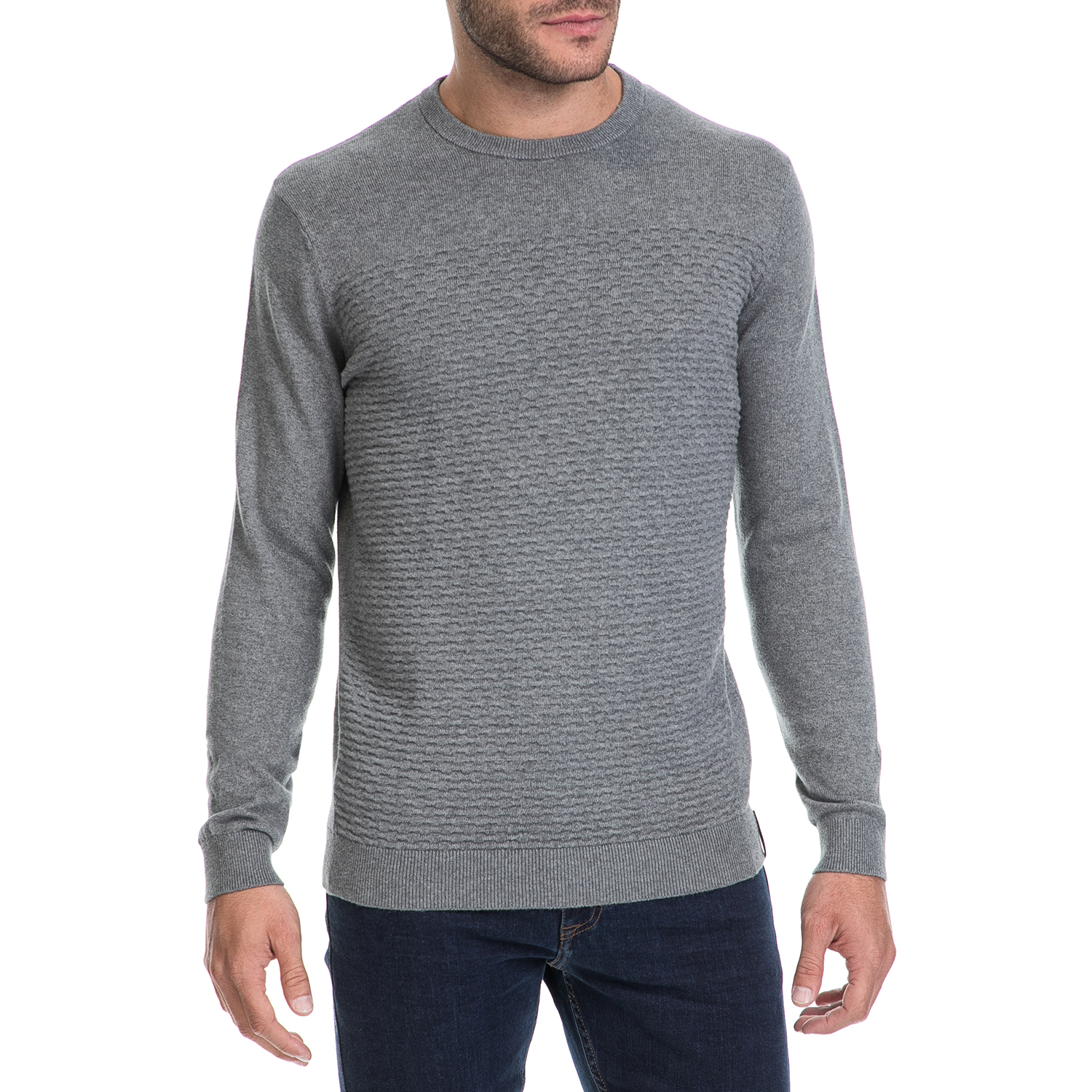 e5dc5621e86b -50% CALVIN KLEIN JEANS – Ανδρικό πουλόβερ SAFET 1 CN SWEATER LS γκρι
